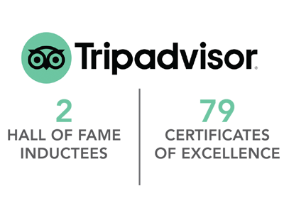 TripAdvisor: 2 HALL OF FAME INDUCTEES | 79 CERTIFICATES OF EXCELLENCE